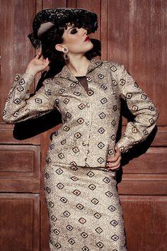 Lady of Spain -  September 2012   wardrobe: blackcatvintage.com   creative director + stylist: Sydney Ballesteros    photography: Stacia Lugo Photography   model: Becca Hammen    makeup: Tangie Duffey   hair: Raul Mendoza   #vintage #fashion #spanishstyle #baroque #goldmetallic