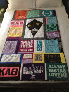 A quilt of Theta t-shirts turned into a quilt! Such a great way to give your Kappa Alpha Theta shirts a new use. #theta1870 #thetadiy