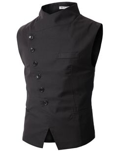 Doublju Mens Slim Vest with Asymmetry Button BLACK (US-S) at Amazon Men's Clothing store: Business Suit Vests