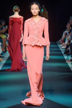 Georges Hobeika F/W 2013 Haute Couture Couture 2015, Haute Couture Dresses, Runway Fashion, Fashion Show, Women's Fashion, High Fashion Looks, Coral, Georges Hobeika, Orange Fashion