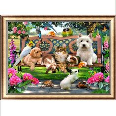 DIY 5D Diamond Embroidery Cat Dog Animal Diamond Painting Cross Stitch Kits Home Decor Christmas gift diamond picture -Y102