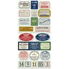 7 Gypsies - Apothecary Collection - 97% Complete Label Stickers - Vintage at Scrapbook.com $1.95