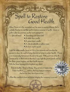 Spell to Restore Good Health for Homemade Halloween Spell Book. Halloween Spell Book, Halloween Spells, Witch Spell Book, Witchcraft Spell Books, Witchcraft Spells For Beginners, Healing Spells, Magick Spells, Luck Spells, Wiccan Magic