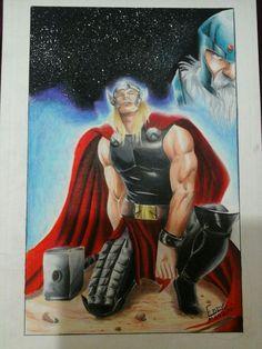 Thor ilustração colored pencils