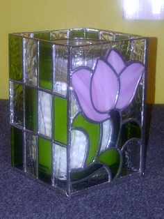 My first candle holder in stained glass.