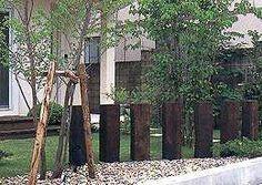 Railway sleeper feature ideas for new garden Back Gardens, Small Gardens, Outdoor Gardens, Home Landscaping, Front Yard Landscaping, Fence Design, Garden Design, Sleepers In Garden, Australian Native Garden