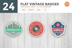 24 Flat Vintage Badge Set by naulicreative on @creativemarket