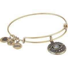 Alex and Ani Evil Eye Bangle (Rafaelian Gold) Bracelet ($32) ❤ liked on Polyvore featuring jewelry, bracelets, hinged bracelet, yellow gold bangle bracelet, bangle charm bracelet, bangle bracelet and gold bangle bracelet