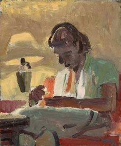 Portrait of Lydia Sewing 1955 - David Park (1911-1960).
