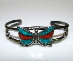 Native American Navajo Old Pawn Sterling Silver Turquoise and Coral Chip Inlay Butterfly Cuff Bracelet
