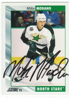 Mike Modano Minnesota North Stars Autographed 1992-93 Score Card
