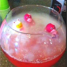 Pink punch for baby shower with dry ice and rubber duckies!