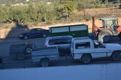 Vehículos cargados de aceitunas recolectadas en la Almazara de la Sociedad Cooperativa San Vicente de Mogón