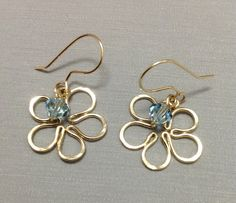 Flower Earring  Wire wrapped 14K gold filled by OritWhiteLight