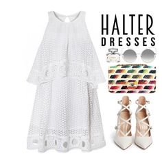"""Shoulder Show: Halter Dresses"" by bmaroso ❤ liked on Polyvore featuring Chanel, Gianvito Rossi, Marc Jacobs, Gucci and halterdresses"
