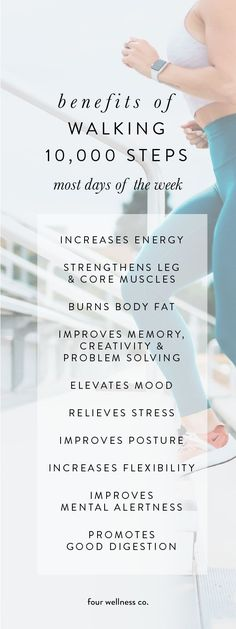 The Health Benefits of Walking 10000 Steps a Day // Four Wellness Co. The Health Benefits of Walking 10000 Steps a Day // Four Wellness Co. Neneh Nerafa nenehnerafa Fitness The health benefits […] tips Health Benefits Of Walking, Mental Health Benefits, Benefits Of Physical Fitness, Walking For Health, Exercise Benefits, Healthy Habits, Healthy Tips, Healthy Snacks, Healthy Lifestyle Tips