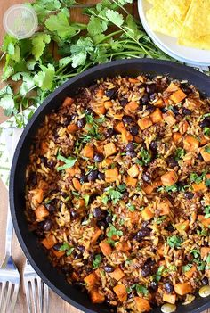 Mexican Chorizo, Sweet Potato and Black Bean Rice Skillet is a simple weeknight supper with yummy Mexican flair.