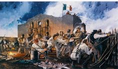 For God and Texas by Richard Luce ~ Davy Crockett & the Tennessee mounted volunteers defending the south wall during the opening moments of the battle of the Alamo