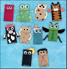 Paper Bag Puppets: tiger, frog, insect