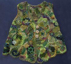 lacy freeform knit and crochet waistcoat | Flickr: Intercambio de fotos