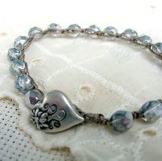 Silver crochet bracelet - Bohemian jewelry, Sparkly Boho Bracelet