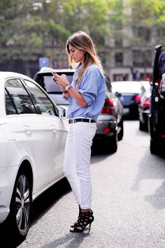 Blue button-down + white jeans + black heels