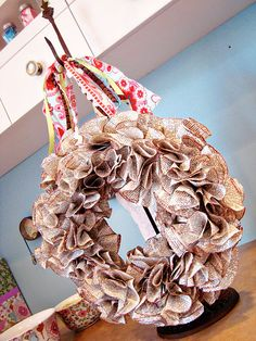 wreath made out of newspaper