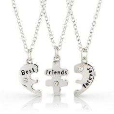3 Bestfriends necklace set, Best Friends Forever three part necklace, friendship necklace includes beautiful gift bag for each necklace - 3 individual necklaces included: Amazon.co.uk: Jewellery