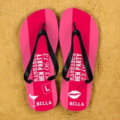 Hen Party Personalised Flip Flops in Pink Wedding Gift Bachelorette... ($36) ❤ liked on Polyvore featuring shoes, sandals, flip flops, brown, flip flops & thongs, women's shoes, evening shoes, special occasion shoes, party sandals and evening sandals