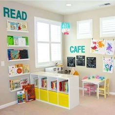 Ikea Kallax Inspiration, Ideas & Hacks For Every Room - Simplify Create Inspire Ikea Kallax Inspiration & Hacks for every room. Loads of simple ideas for using Ikea Kallax shelf or Expedit shelf to organise your home in style! Small Playroom, Colorful Playroom, Toddler Playroom, Playroom Design, Playroom Decor, Boy Toddler, Montessori Toddler, Modern Playroom, Children Playroom