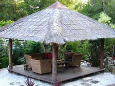 Create a private tropical resort in your own back yard . Ascot's Bali Huts and Gazebos are custom made in Indonesia of treated palm wood. Outdoor Gazebos, Patio Gazebo, Outdoor Rooms, Backyard Patio, Outdoor Living, Garden Gazebo, Tropical Landscaping, Tropical Gardens, Bali Huts