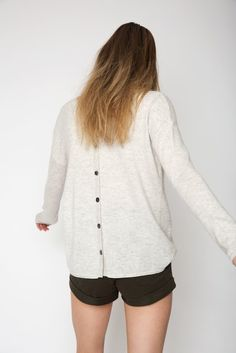 The Button Back Cashmere Sweater in Glazier Grey Cashmere Sweaters, Looks Great, Size 14, Buttons, Grey, Summer, Model, How To Wear, Collection