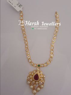 Light weight pachi work necklace from Harsh Jewellers Gold Jhumka Earrings, Gold Necklace, Diamond Jhumkas, Kids Necklace, Simple Necklace, Necklace Set, Gold Chain Design, Gold Jewellery Design, Antique Jewellery