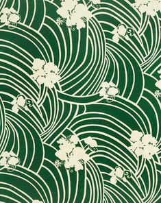 CHLOE I COLOR # 35 A vibrant green, California bungalow style print. Printed on 100% silk, Matka.