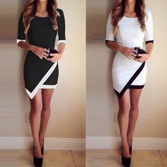 Mulheres Moda Meia Luva Das Senhoras Asymmetric Casual Vestido Branco & Preto Elegante Patchwork Vestidos Bodycon Lápis Curto Mini Vestido