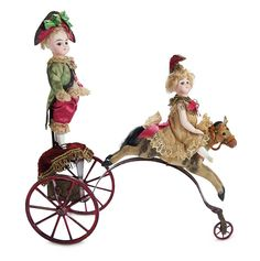 """French Mechanical Toy """"Mignonettes Jesters at the Circus"""" Attributed to Theroude 9"""" (23 cm.) overall length. Arranged upon a three-wheeled f..."""