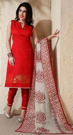 Red Silk Churidar Salwar Suit