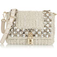 Dolce & Gabbana Crystal-embellished raffia shoulder bag ($1,045) ❤ liked on Polyvore featuring bags, handbags, shoulder bags, dolce & gabbana, purses, bolsas, neutrals, ivory handbag, dolce gabbana purses and clear handbags