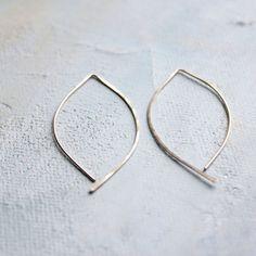 Line Earrings - Open Hoop Gold Leaf Earrings (Medium) - gold earrings, open hoops, almond shape, minimalist earring jewelry,