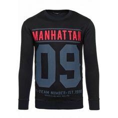 Pánska mikina čiernej farby s červeným nápisom MANHATTAN - fashionday.eu