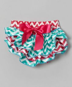 Take a look at this Pink & Turquoise Satin Zigzag Diaper Cover - Infant by Diapers & Denim on #zulily today!