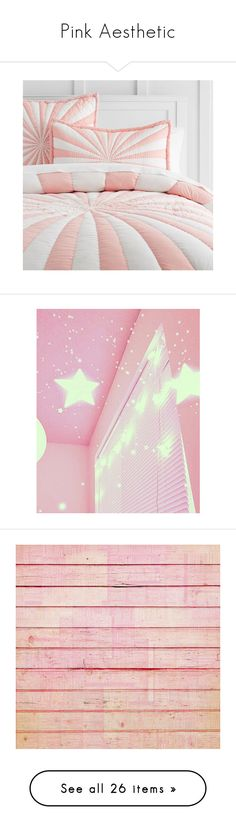 """""""Pink Aesthetic"""" by jiminslostjams on Polyvore featuring home, bed & bath, bedding, bed accessories, twin bed linens, pbteen, striped bedding, pink shams, pink pillow shams and home decor"""