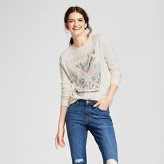 Mighty Fine Women's Radio Days Woodstock Graphic Pullover Sweatshirt (Juniors') - Cream