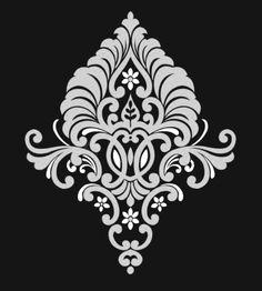 Animal Stencil, Stencil Art, Stencils, Royal Pattern, Baroque Pattern, Stencil Patterns, Stencil Designs, Alpona Design, Corset Sewing Pattern