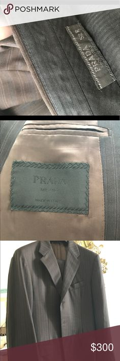 Brown and blue pinstripe Prada men's suit Beautiful work only once men's Prada suit in a few brown with subtle pinstripes. Size 52 R Prada Suits & Blazers Suits