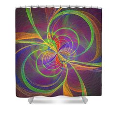 """Shower cutains with colorful modern spiral design. These curtains are made from 100% polyester fabric and include 12 holes at the top of curtain for simple hanging from your own rings. Shower curtains are 71"""" wide by 74"""" tall....."""