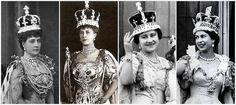 Coronations, left to right: Queen Consort Alexandra, Queen Consort Mary, Queen Elizabeth the Queen Mother, and Queen Elizabeth II