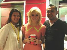 JD & Azah with Pixie Lott his morning! @pixiesongs