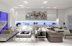 Fancy Blue And White Recessed Lighting With Brown Living Room Interior Design Modern Plus Glass Wall Room Partition