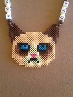 Grumpy+Cat+Meme+Perler+Kandi+Rave+Necklace+by+ErickasKandiShop,+$9.50